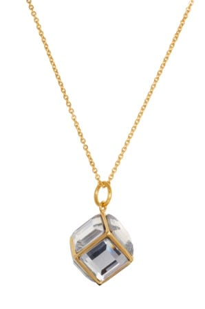 Gold Plated Stainless Steel Glass Cube Fashion Necklace