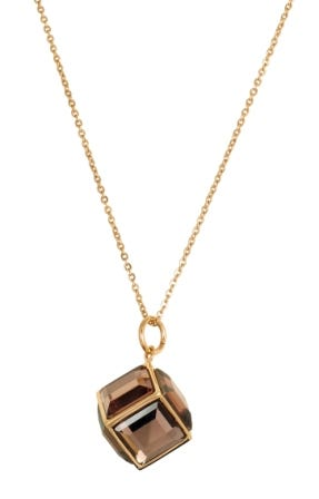 Gold Plated Stainless Steel Smokey Glass Cube Fashion Necklace
