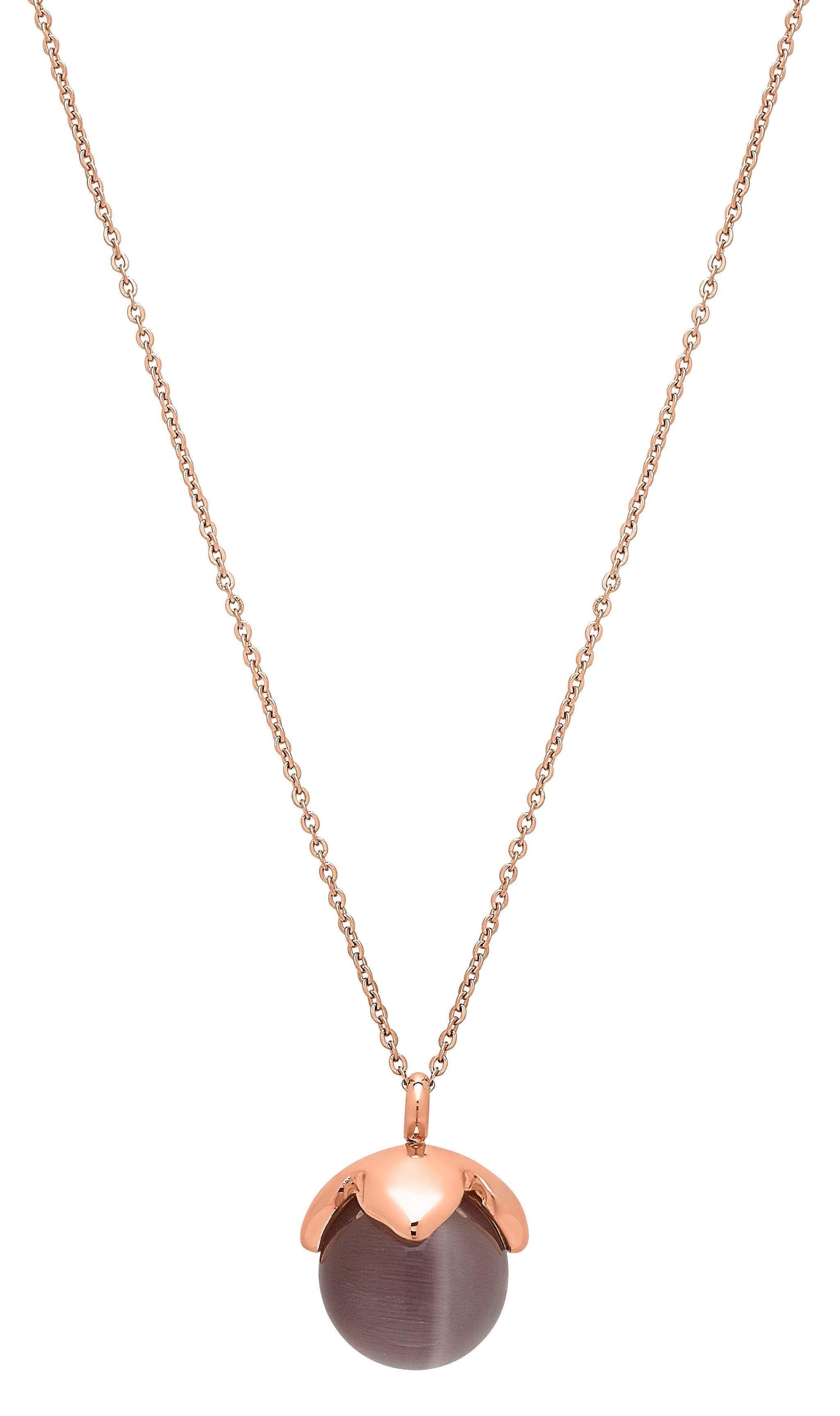 Brown Glass Bead Fashion Necklace in Rose Plated Stainless Steel
