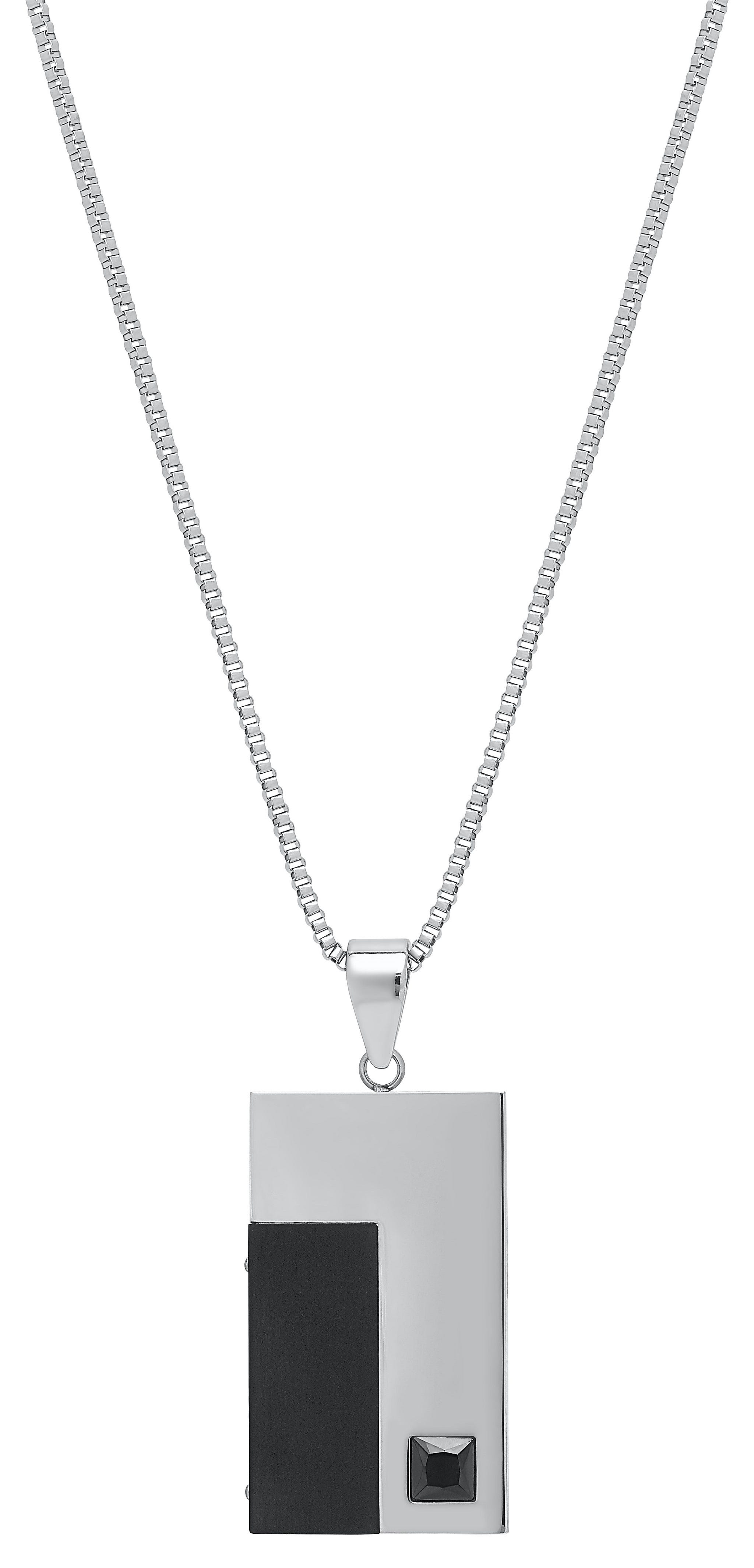 Black Plated Stainless Steel Rectangle Fashion Necklace