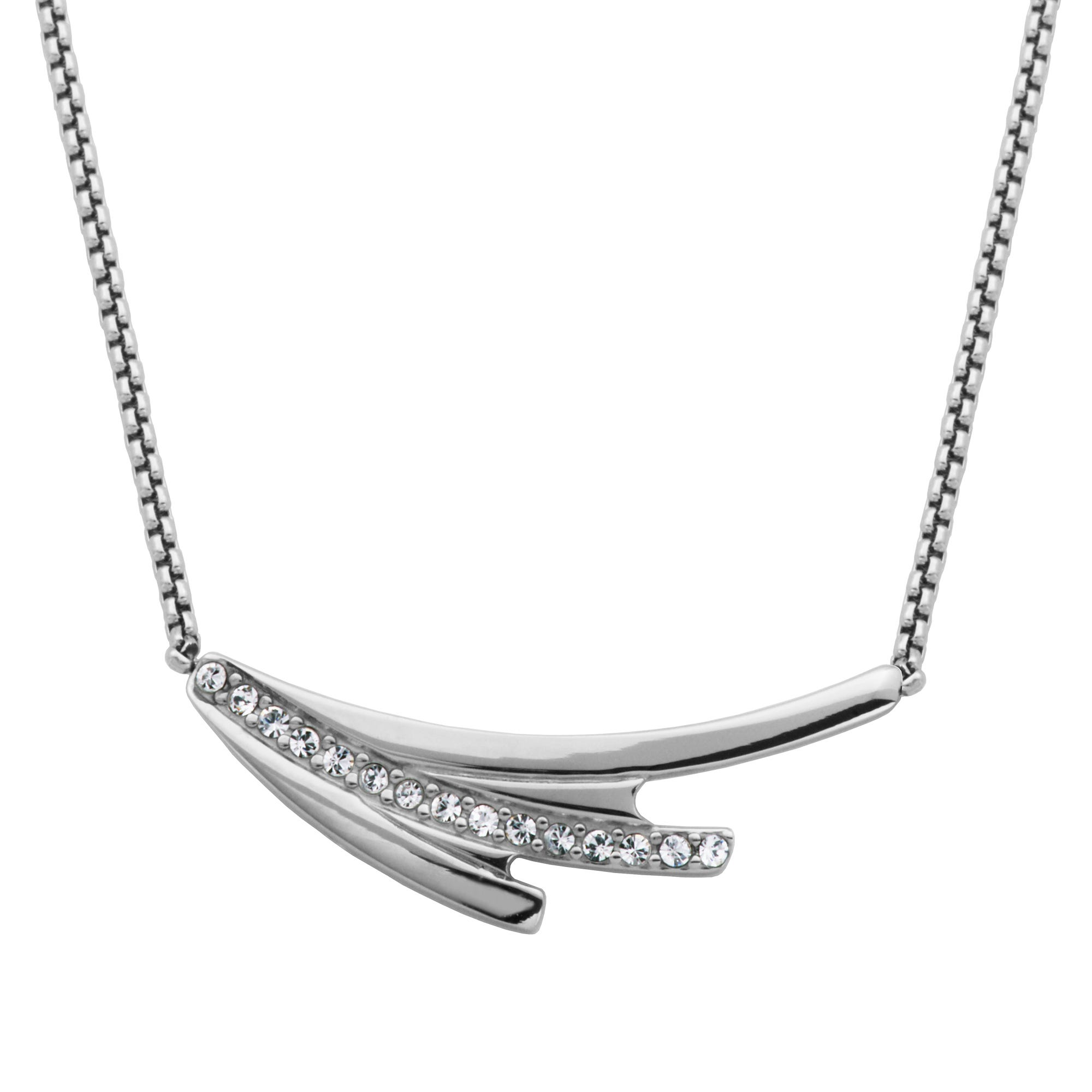 Abstract Brush Stroke Fashion Necklace with Crystal Accent in Stainless Steel