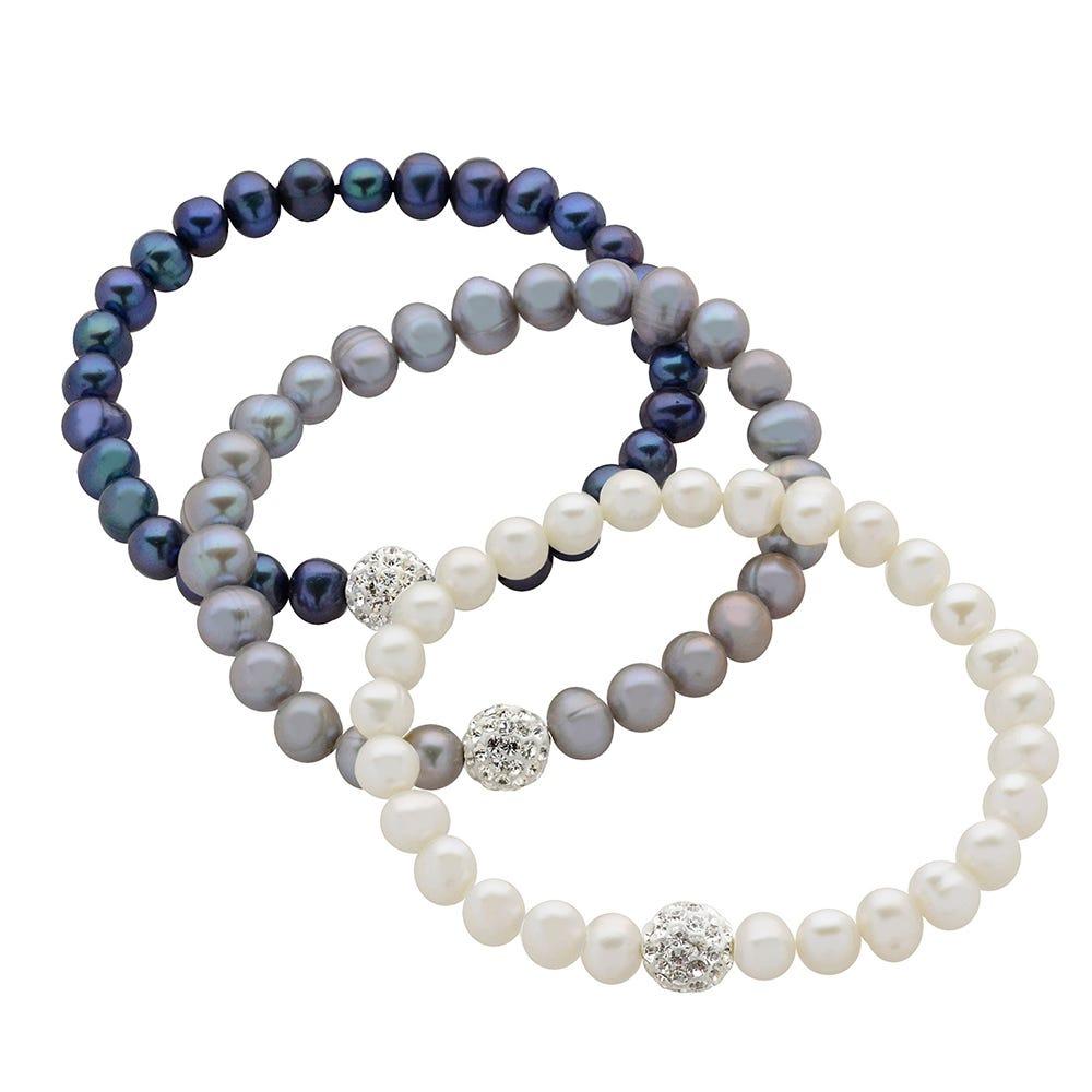 Freshwater Pearl 3-Piece White, Gray & Black Bracelet Set