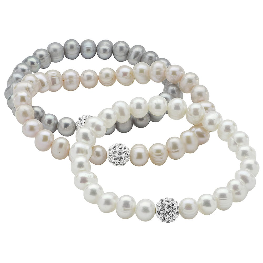 Freshwater Pearl 3-Piece Pink, Gray & White Bracelet Set