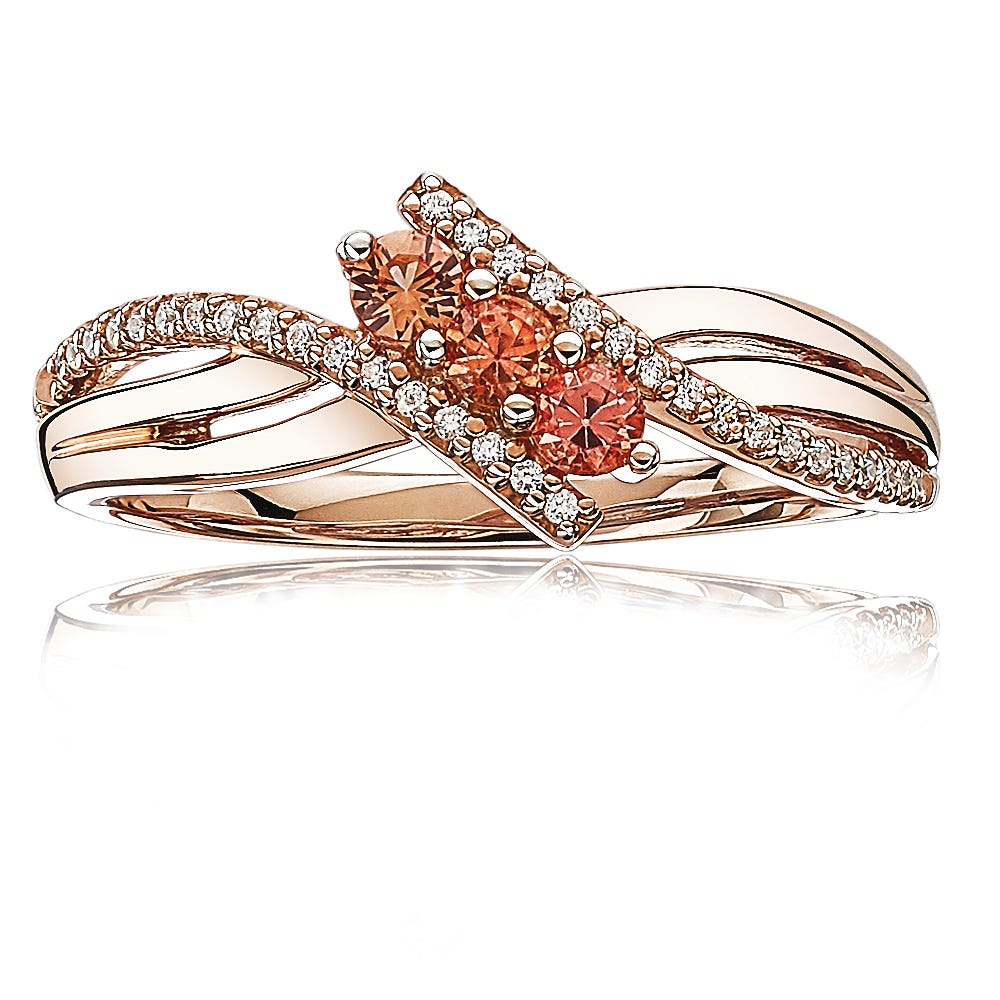 Orange Sapphire & Diamond 3-Stone Fashion Ring in 10k Rose Gold
