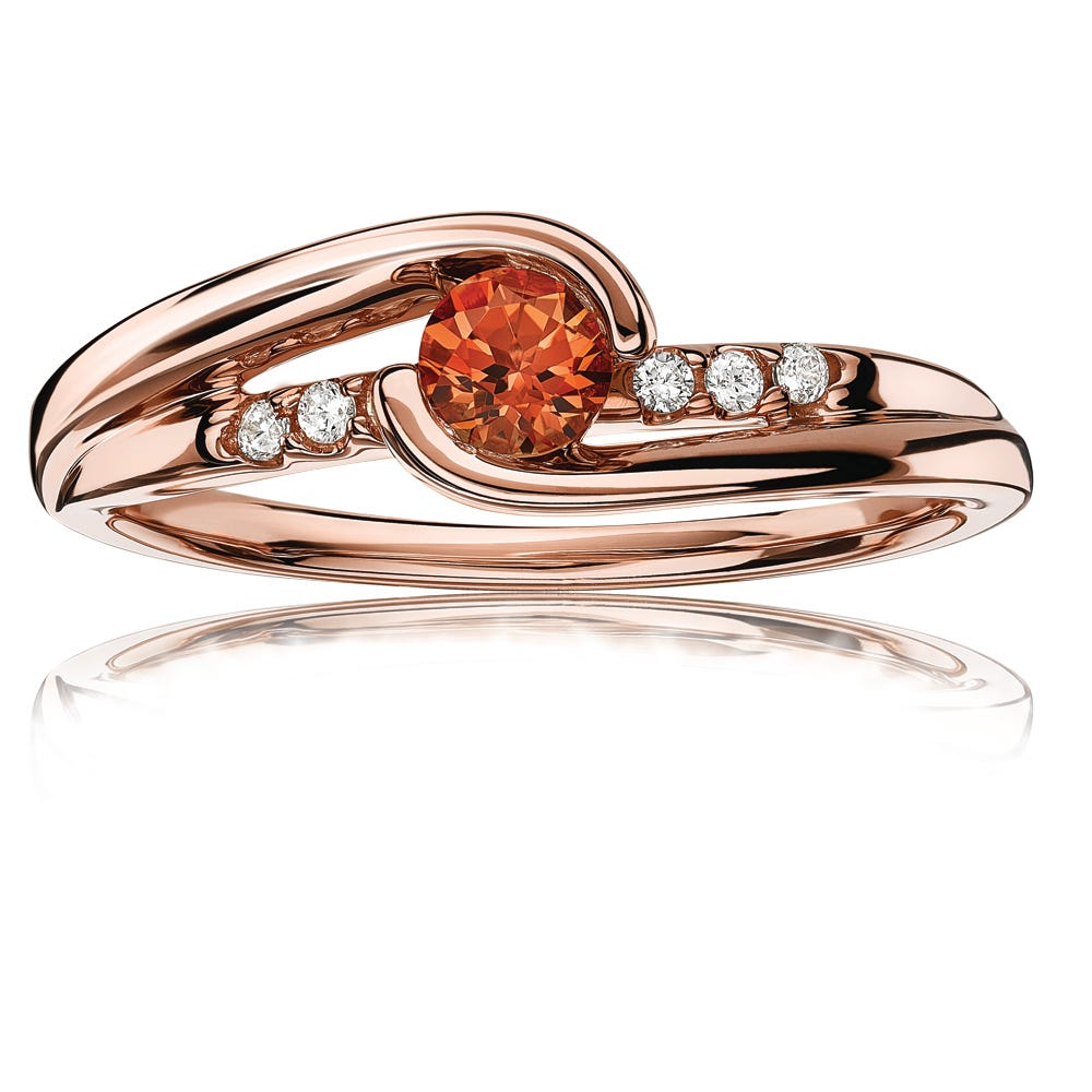 Created Padparadscha Sapphire & Diamond Fashion Ring in 10k Rose Gold
