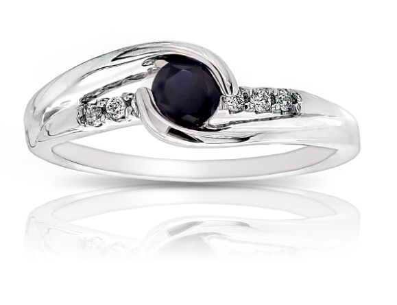Blue Created Sapphire & Diamond Ring in 10k White Gold