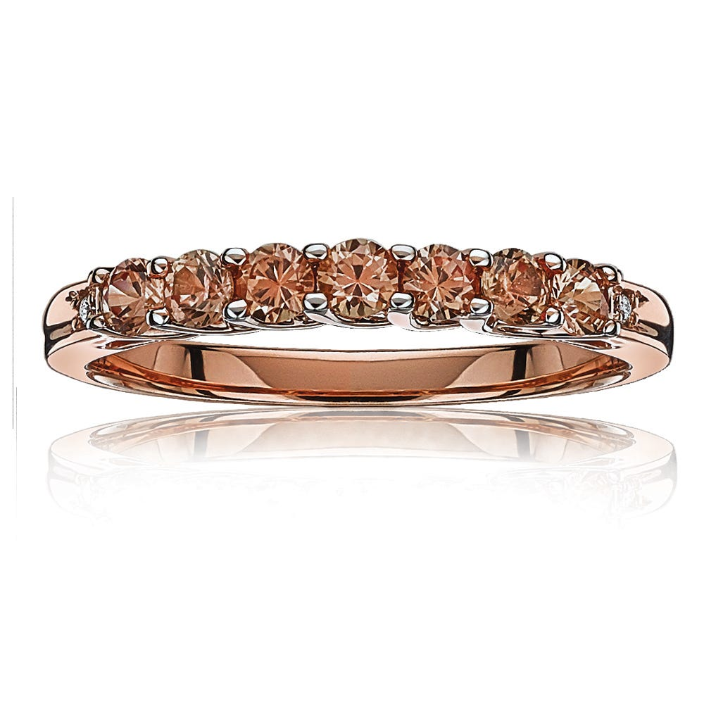 Created Padparcha Sapphire & Diamond Stackable Ring in 10k Rose Gold