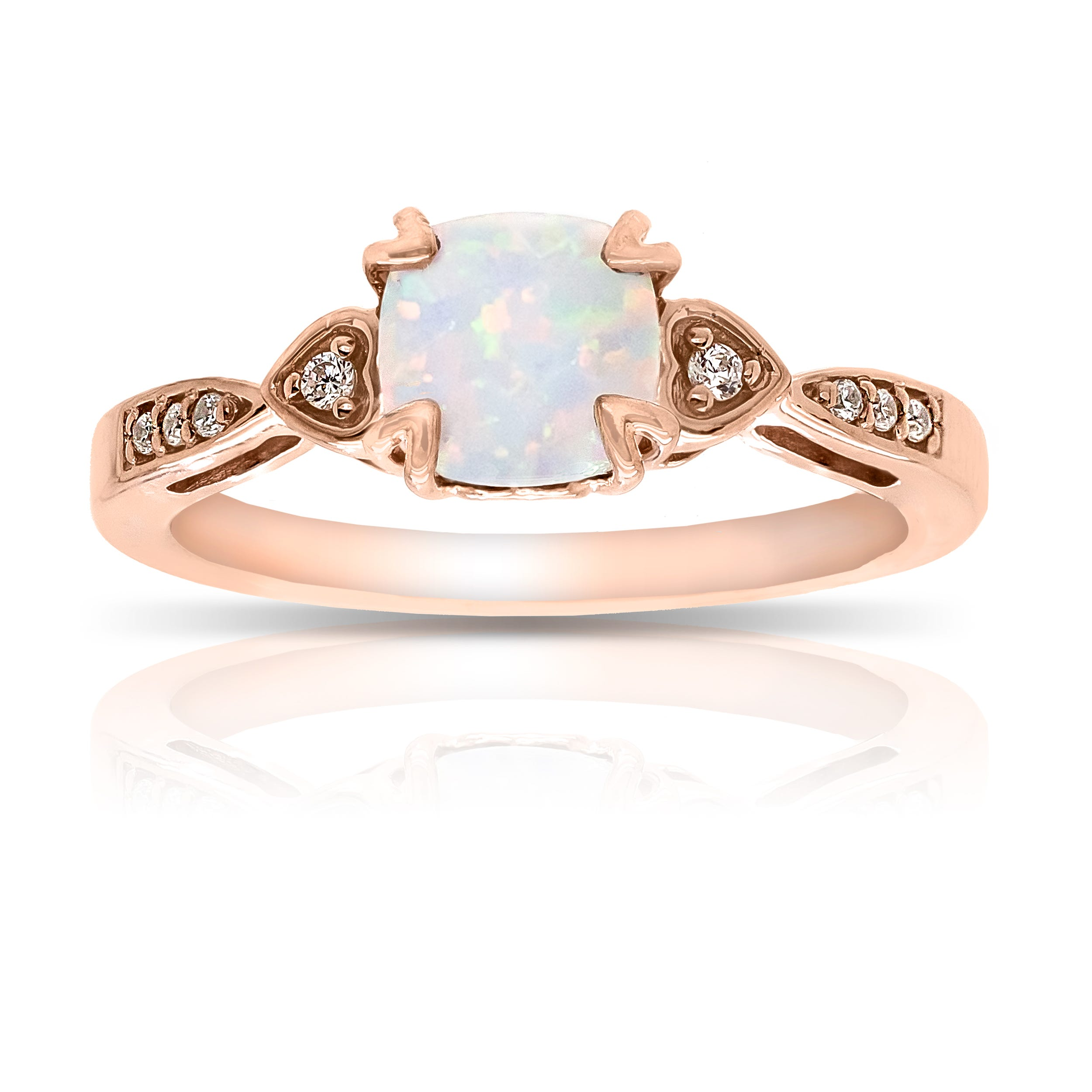 Cushion Created Opal & Diamond Ring in 10k Rose Gold
