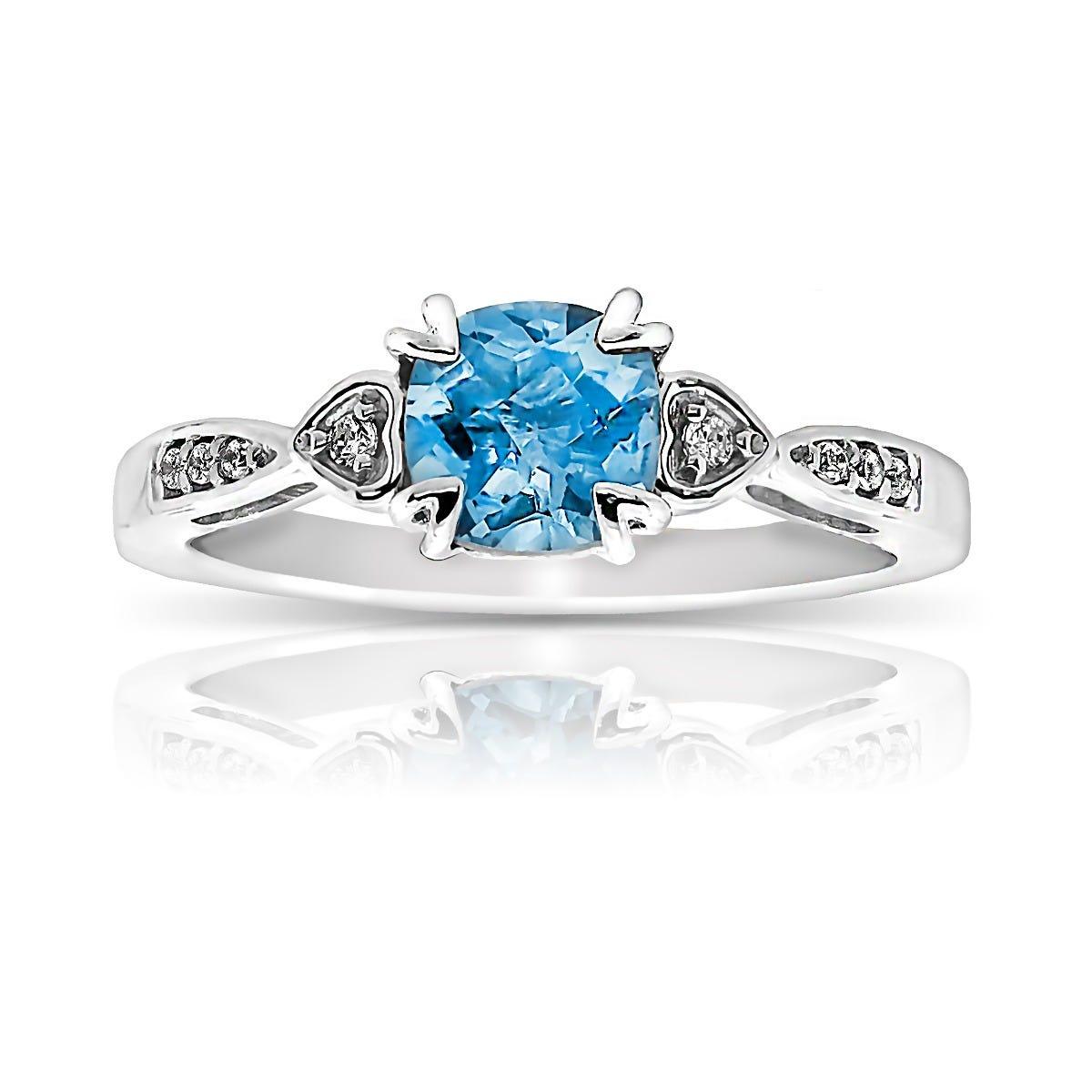 Cushion Blue Topaz & Diamond Ring in 10k White Gold