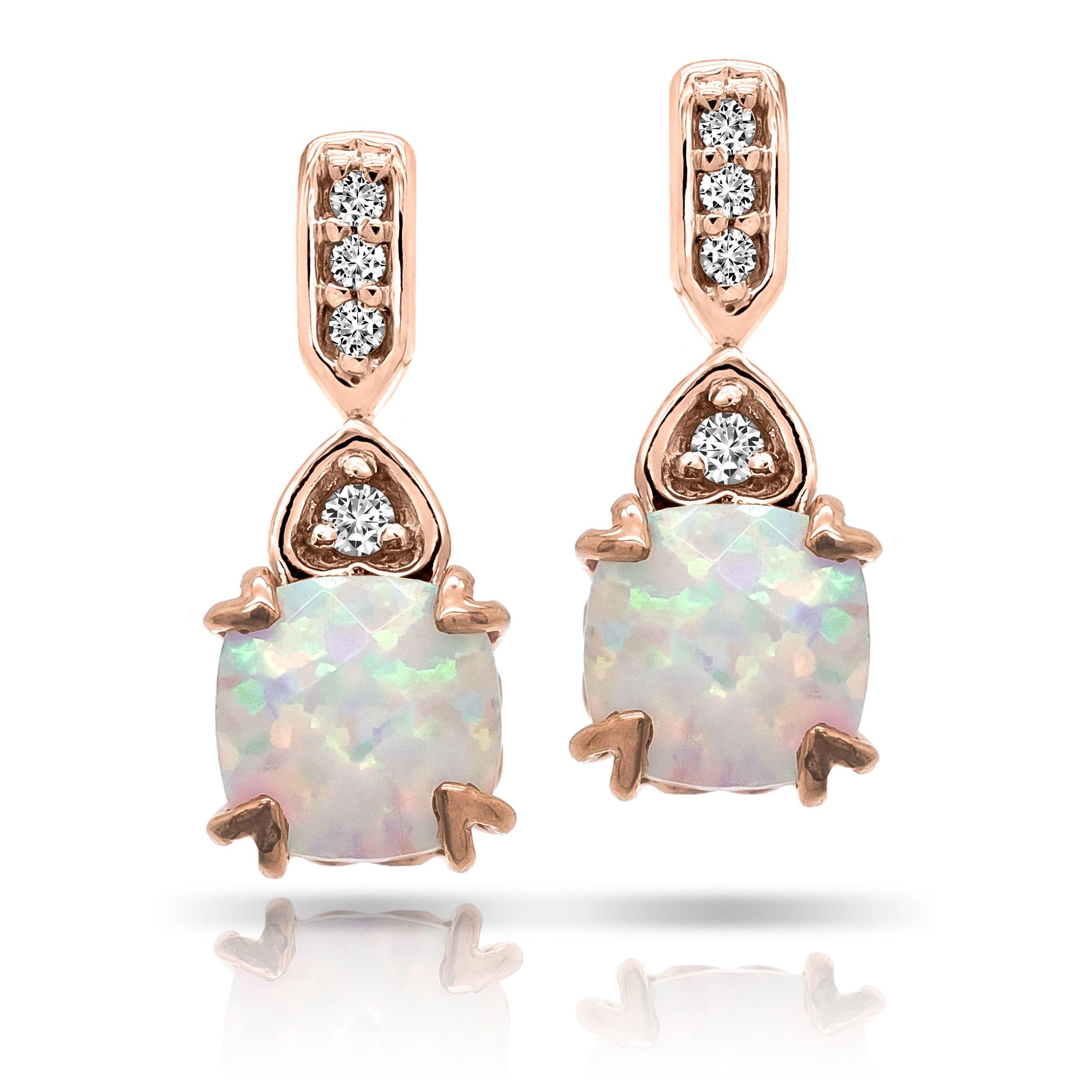 Cushion Created Opal & Diamond Drop Fashion Earrings in 10k Rose Gold