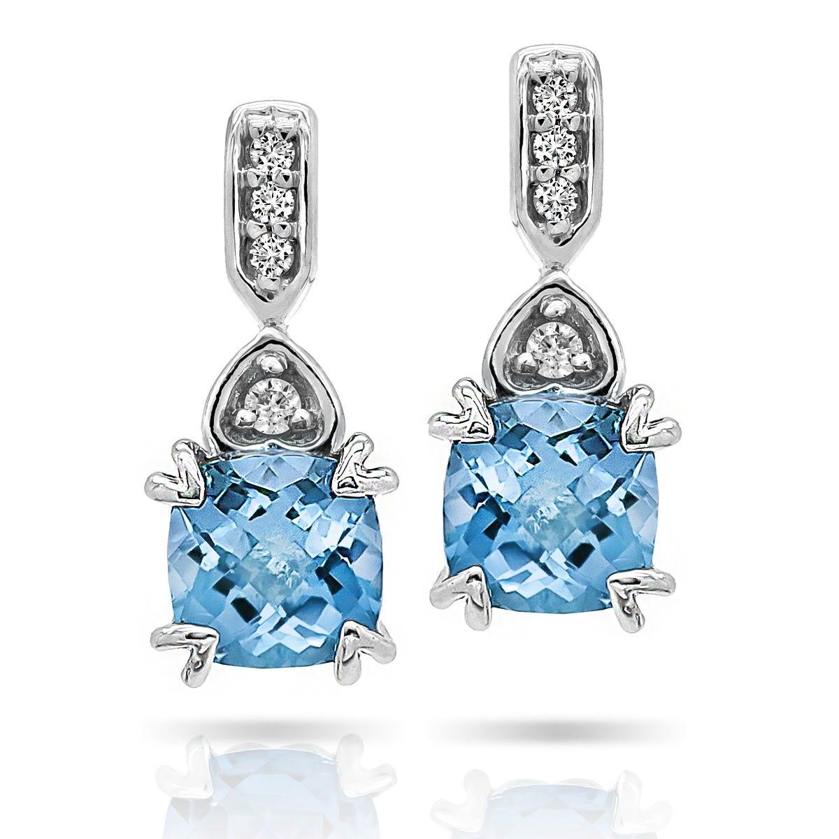 Cushion Blue Topaz & Diamond Drop Fashion Earrings in 10k White Gold