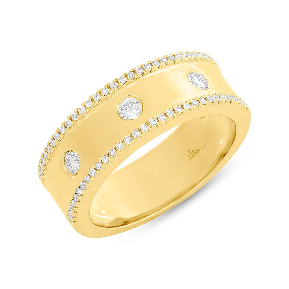 Shy Creation  Round Diamond Fashion Right-Hand Ring in 14k Yellow Gold SC55004097