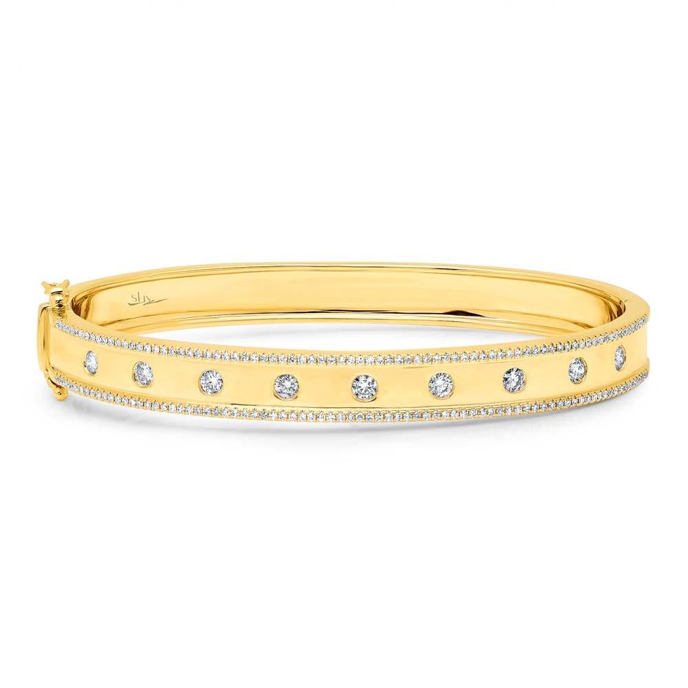 Shy Creation: 1ctw. Diamond Bangle Bracelet in 14k Yellow Gold