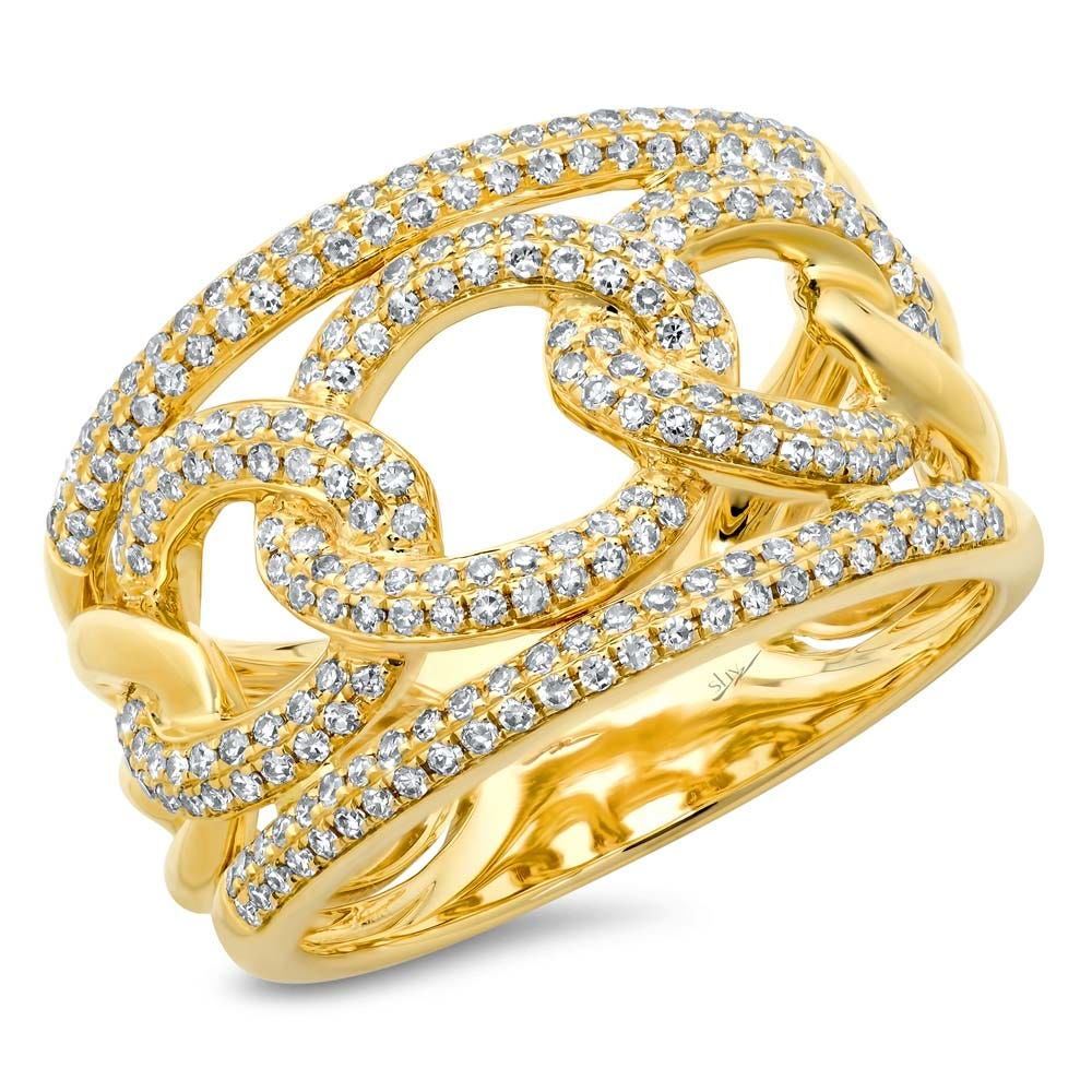 Shy Creation Diamond Fashion Link Right-Hand Ring in 14k Yellow Gold SC55004191