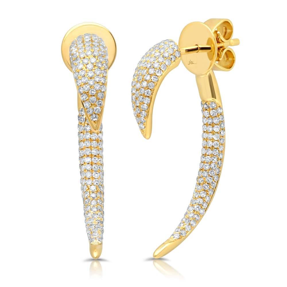 Shy Creation  Front-Back Diamond Spike Drop Earrings in 14k Yellow Gold SC55003575V3