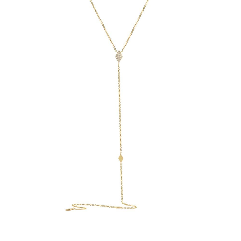 Shy Creation Diamond Lariat Long Layer Necklace in 14k Yellow Gold SC55002056