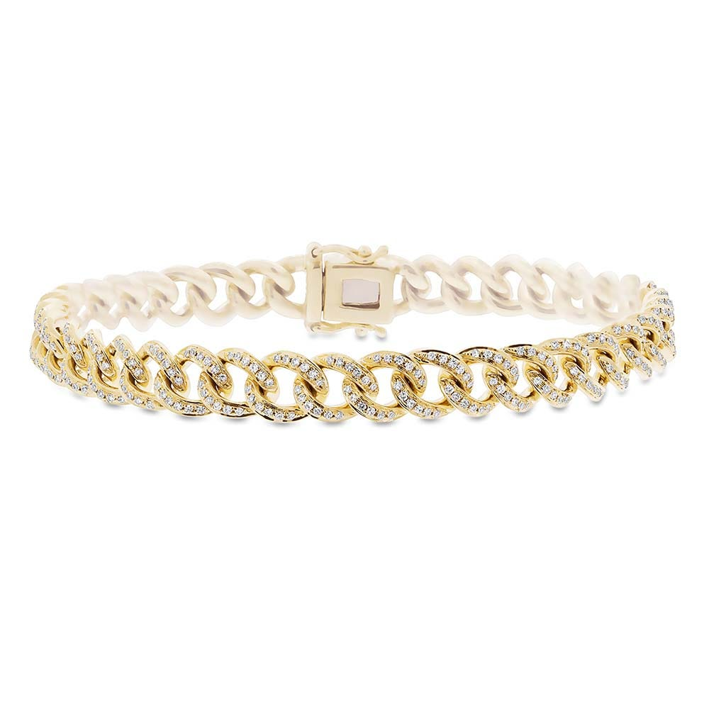 Shy Creation: Diamond 1ctw. Link Bracelet in 14k Yellow Gold