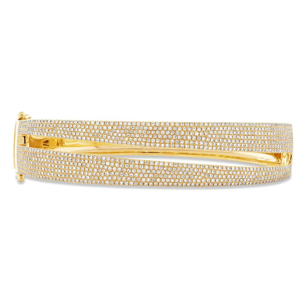 Shy Creation: 2ctw. Pave Diamond Double Row Bangle in 14k Yellow Gold