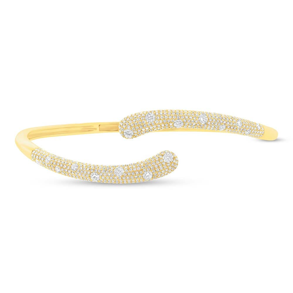 Shy Creation Diamond Wraparound Pave Diamond 2+ctw. Bangle in 14k Yellow Gold SC55003662ZS