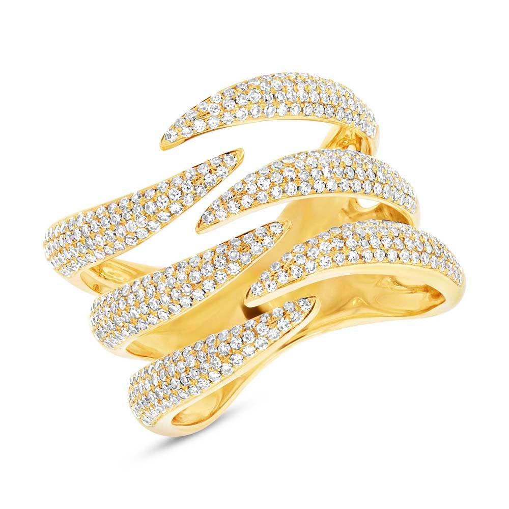 Shy Creation Diamond 3-Row Wraparound Fashion Ring in 14k Yellow Gold SC55001313V3