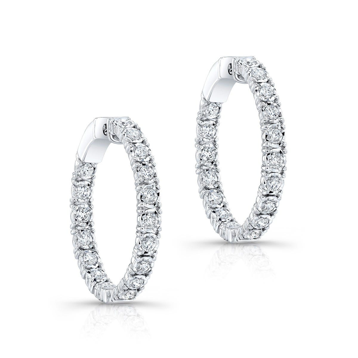 Diamond 1ctw. In & Out Hoop Earrings in 14k White Gold