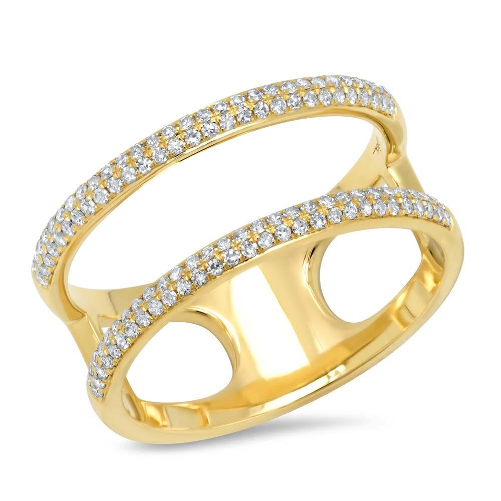 Shy Creation: Diamond Split Fashion Ring in 14k Yellow Gold