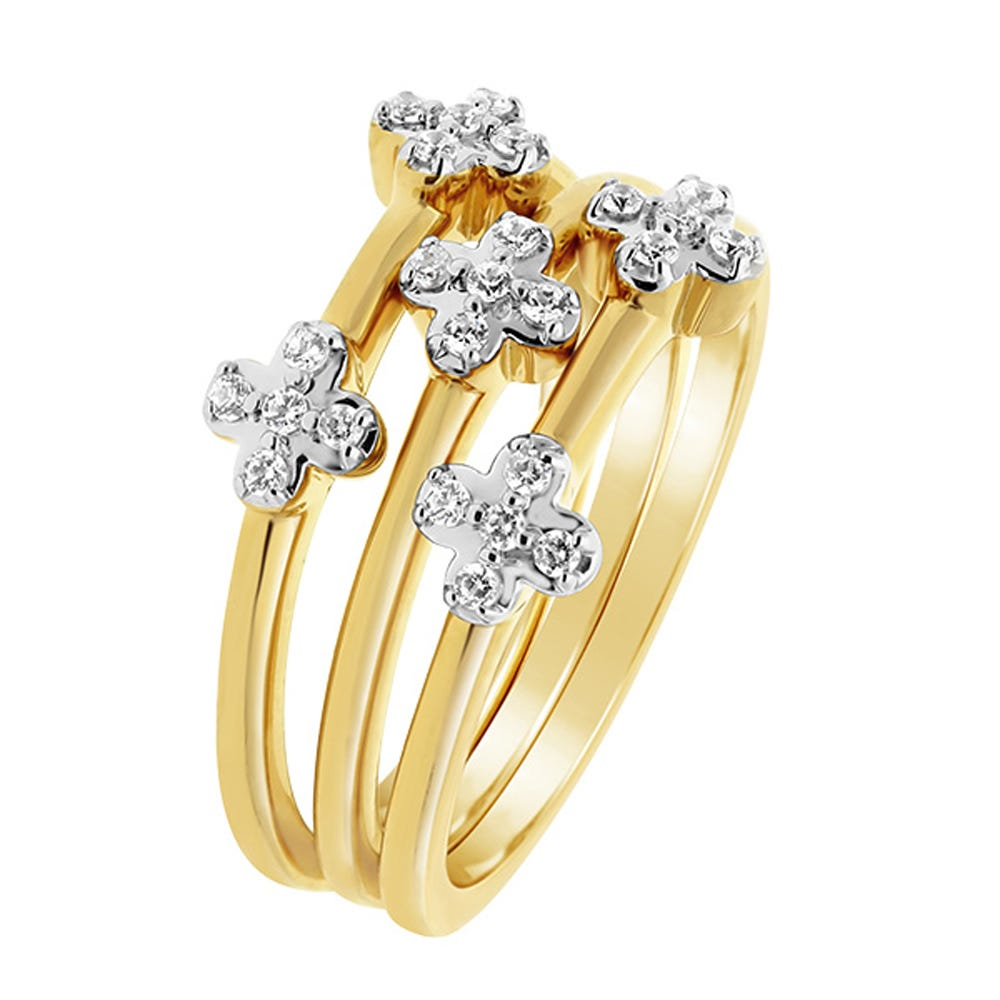 Set of 3 Diamond Stackable Rings in 10k Yellow Gold