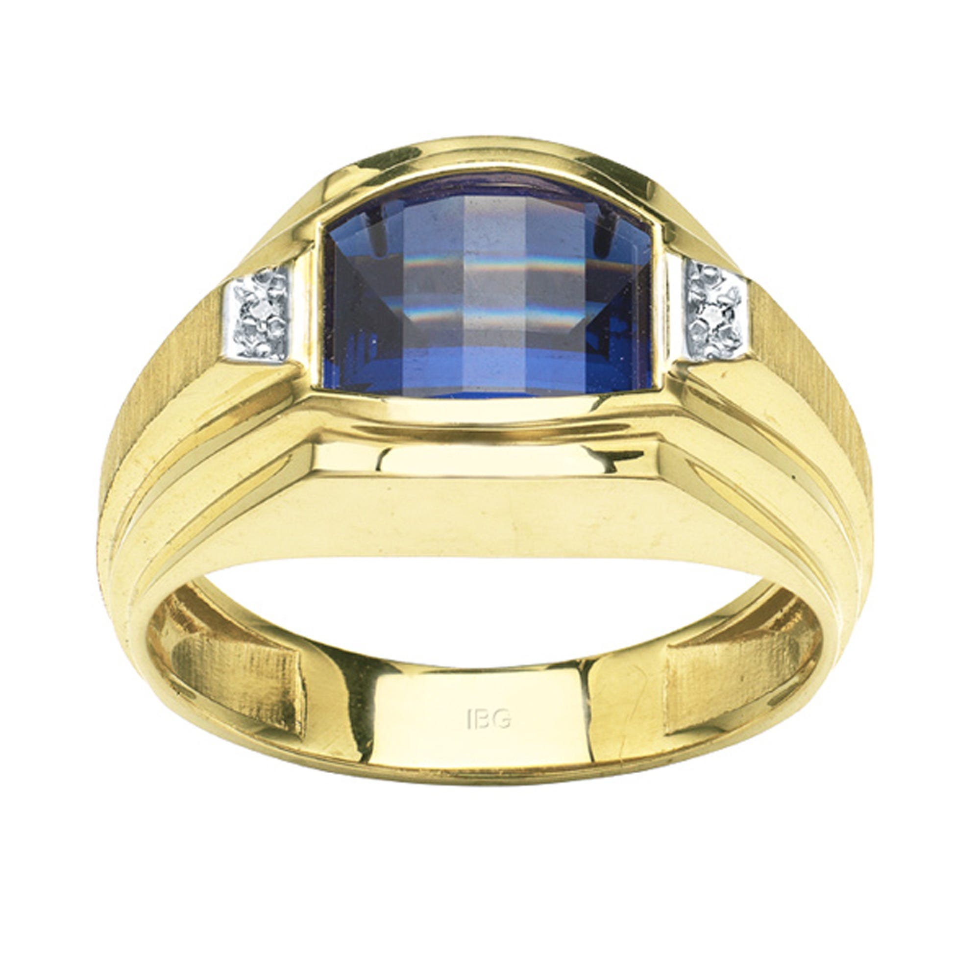 IBGoodman 10k Yellow Gold Created Cushion-Cut Sapphire & Diamond Ring