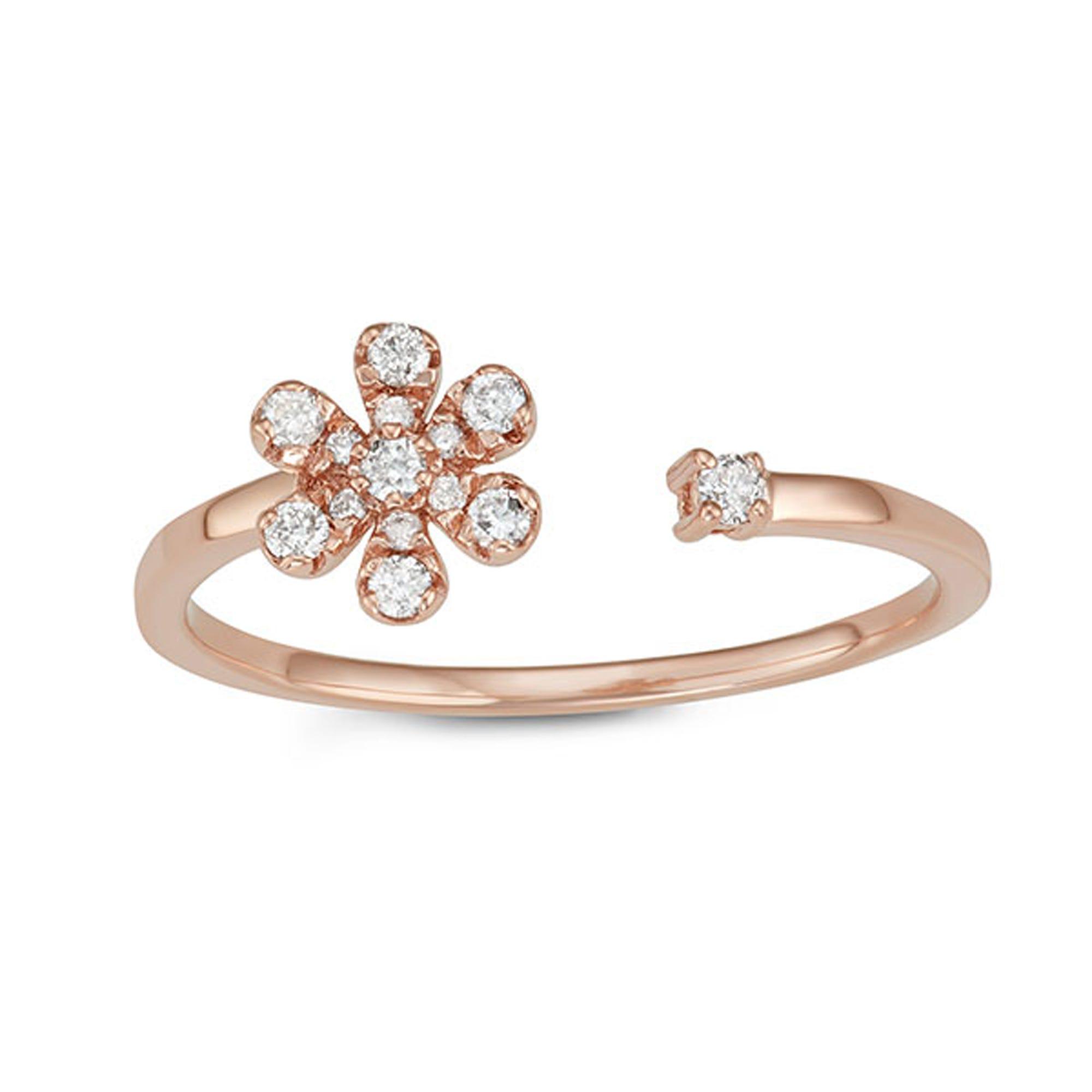 Open-Wrap Daisy Diamond Ring in 10k Rose Gold