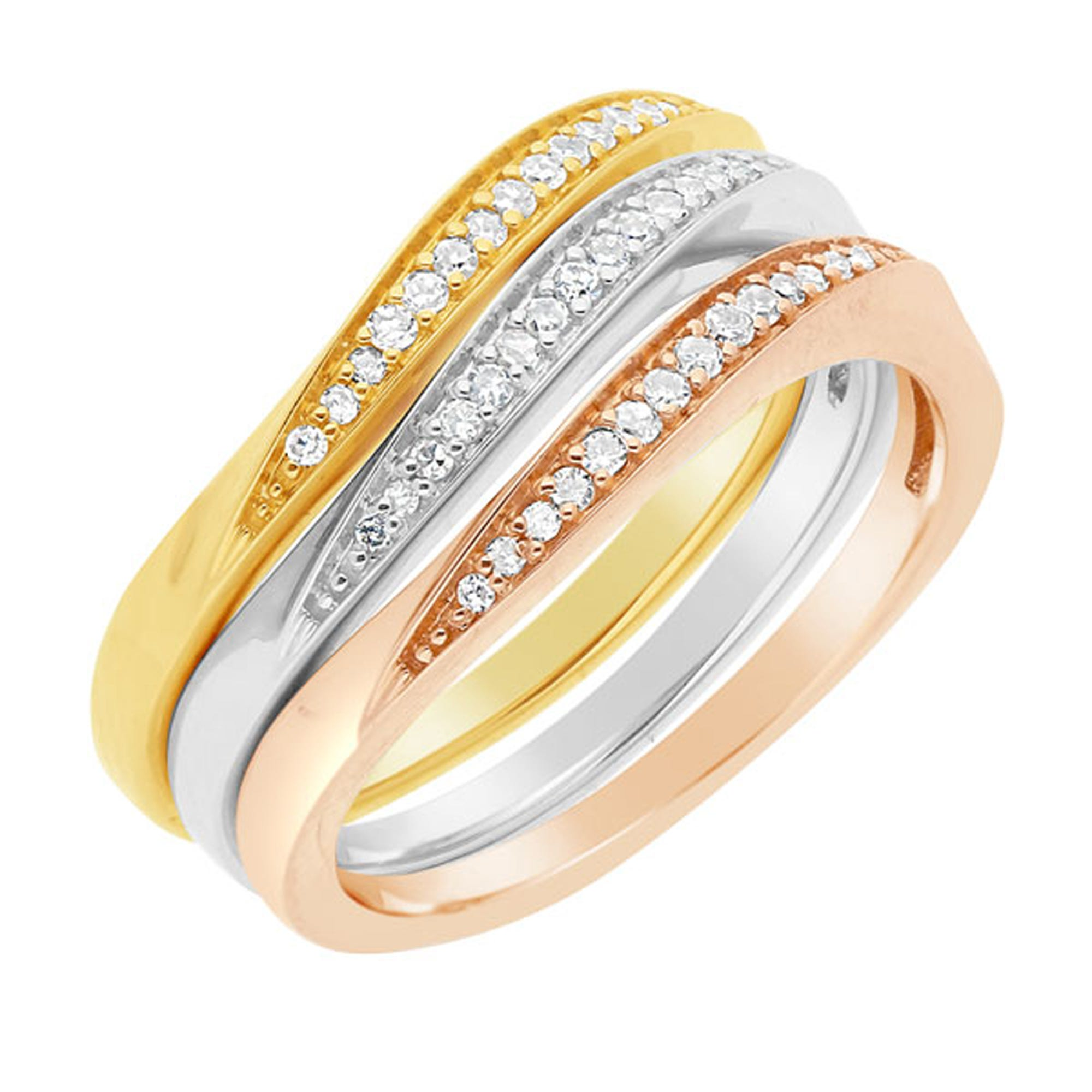 Set of Three Diamond Stackable Diamond Rings in 10k Gold