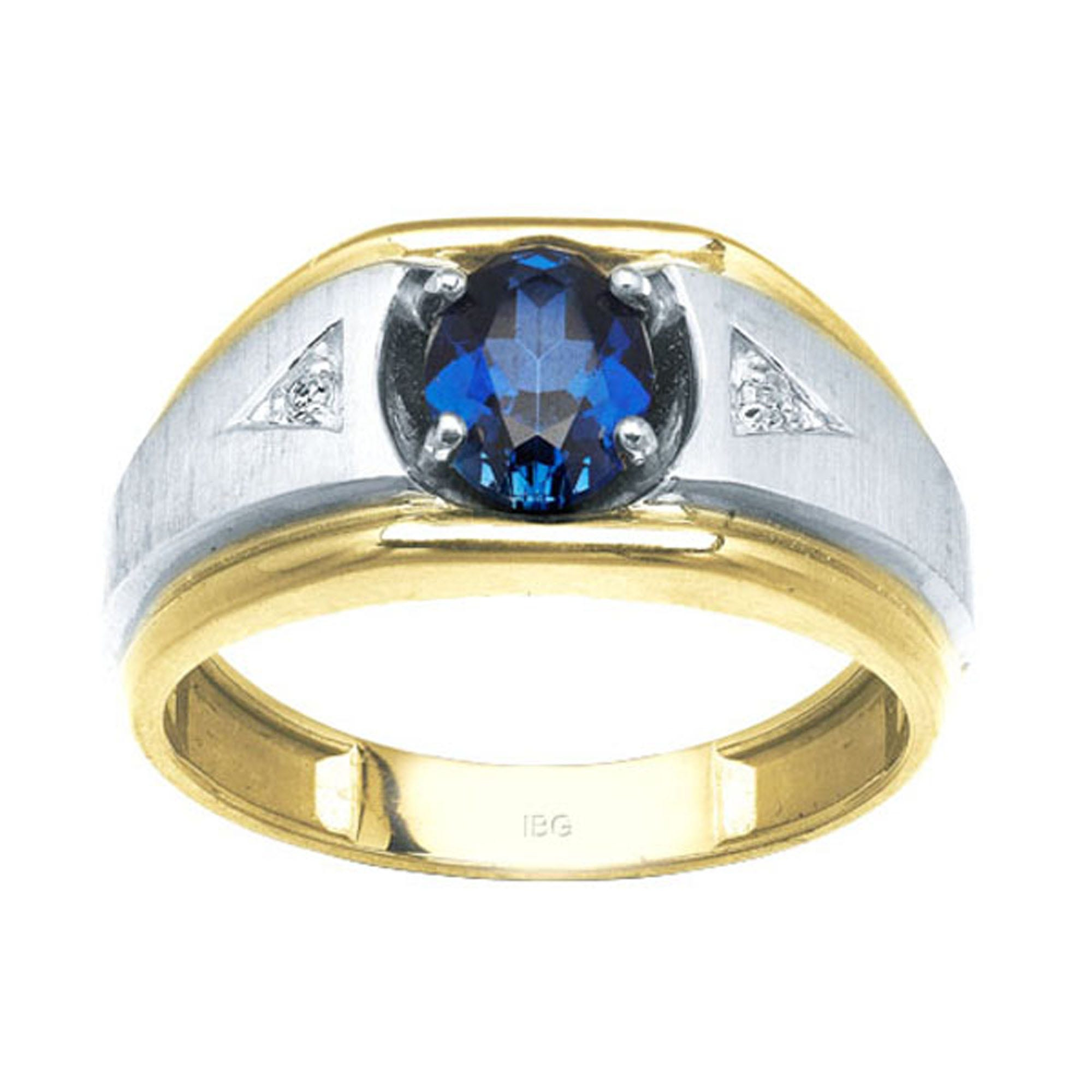 IBGoodman Men's 10k Two-Tone Gold Created Sapphire & Diamond Ring