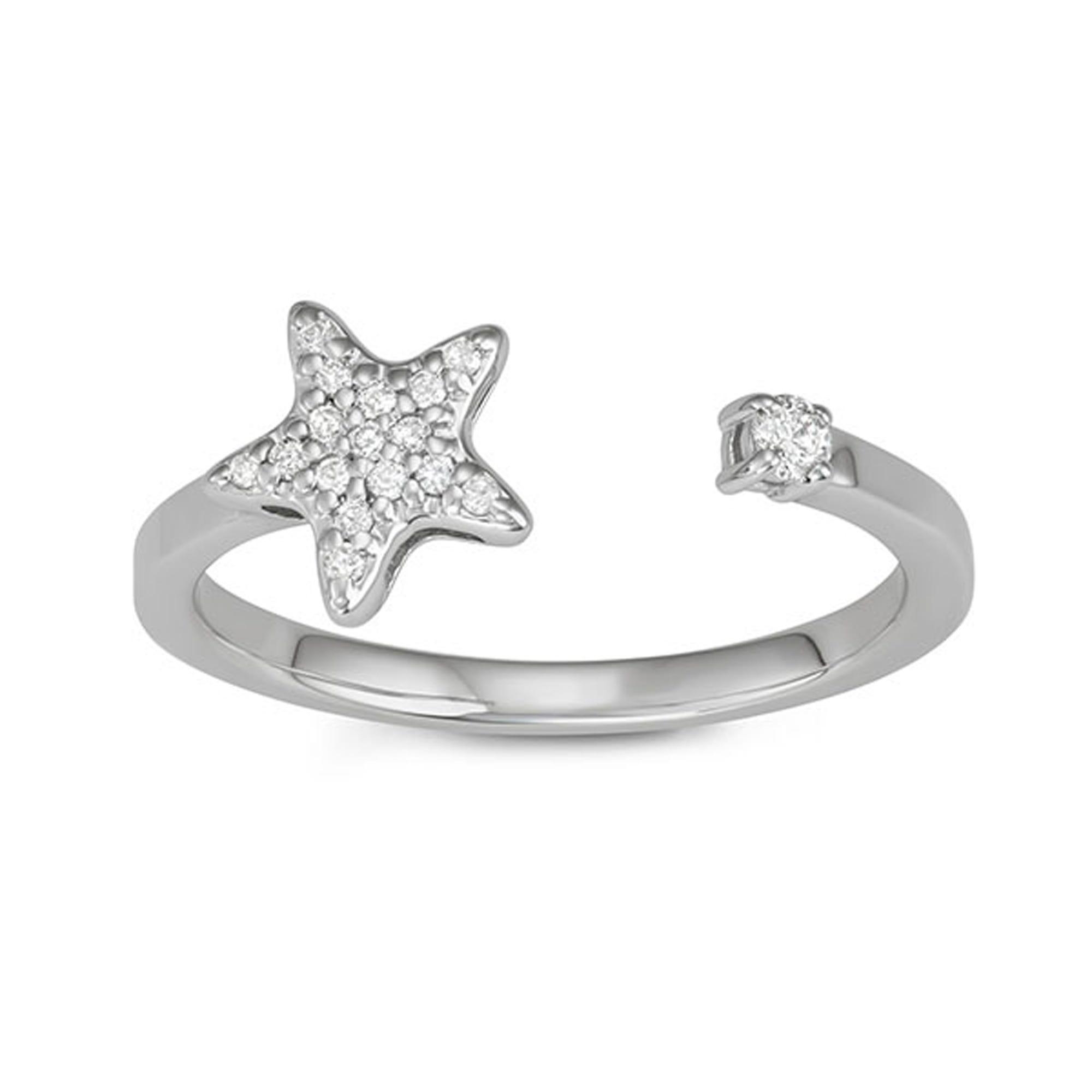 Open-Wrap Star Diamond Fashion Ring in 14k White Gold