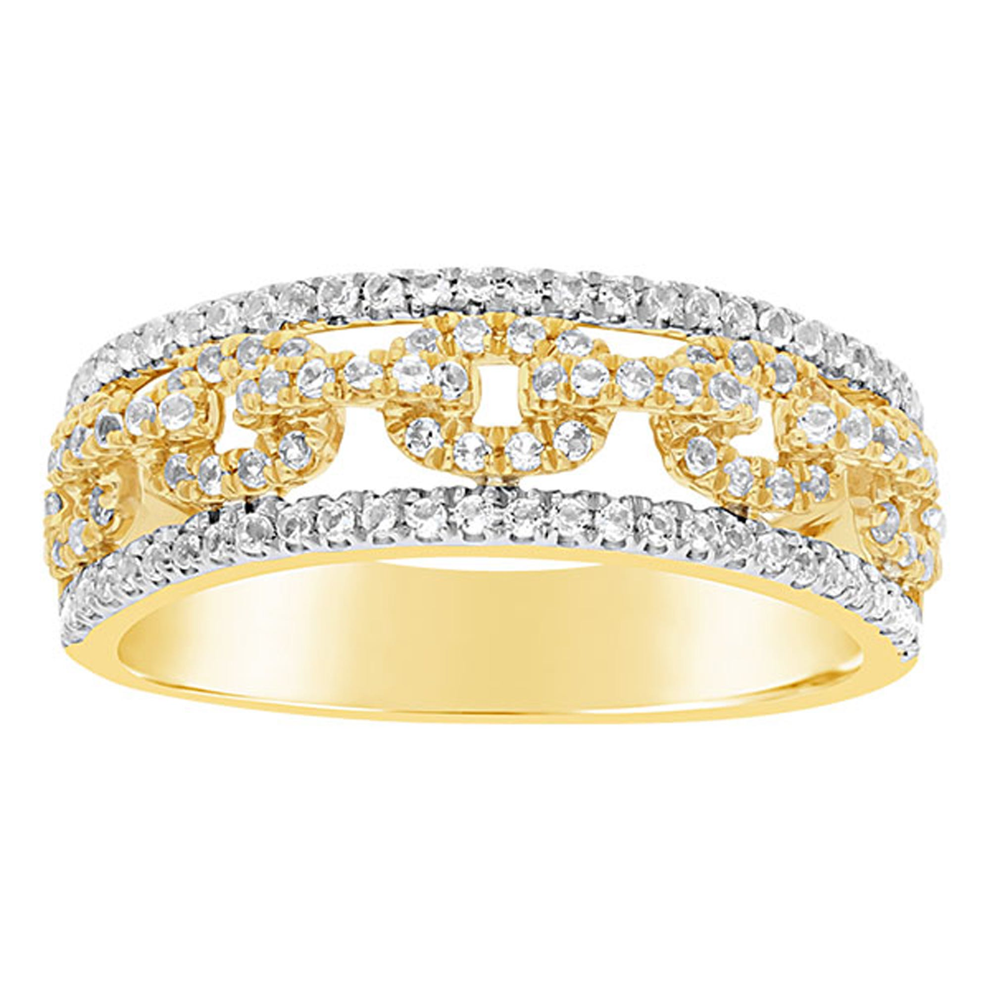 0c08d5d2ef Ladies 14k Yellow Gold 1/2ctw. Diamond Horse-Bit Links Fashion Ring