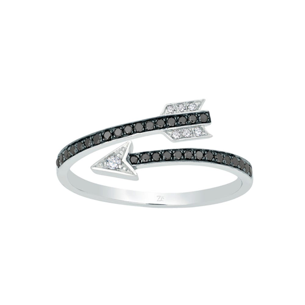 Black & White Diamond Arrow Wrap Promise Rings in Sterling Silver