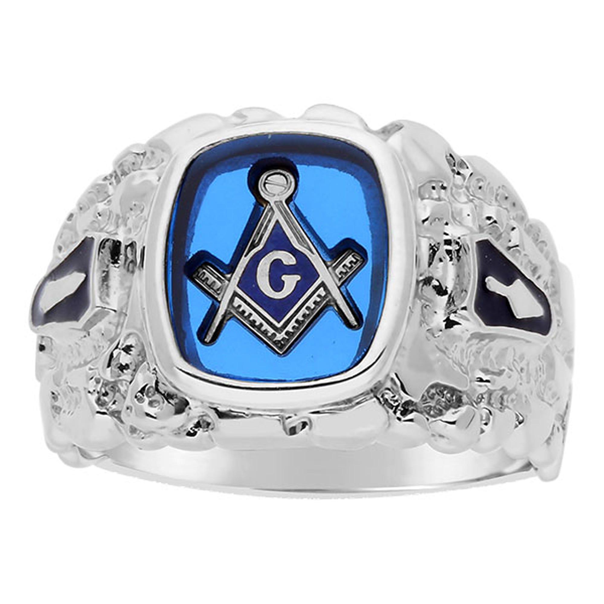 IBGoodman Men's Blue Spinel Masonic Ring in Sterling Silver