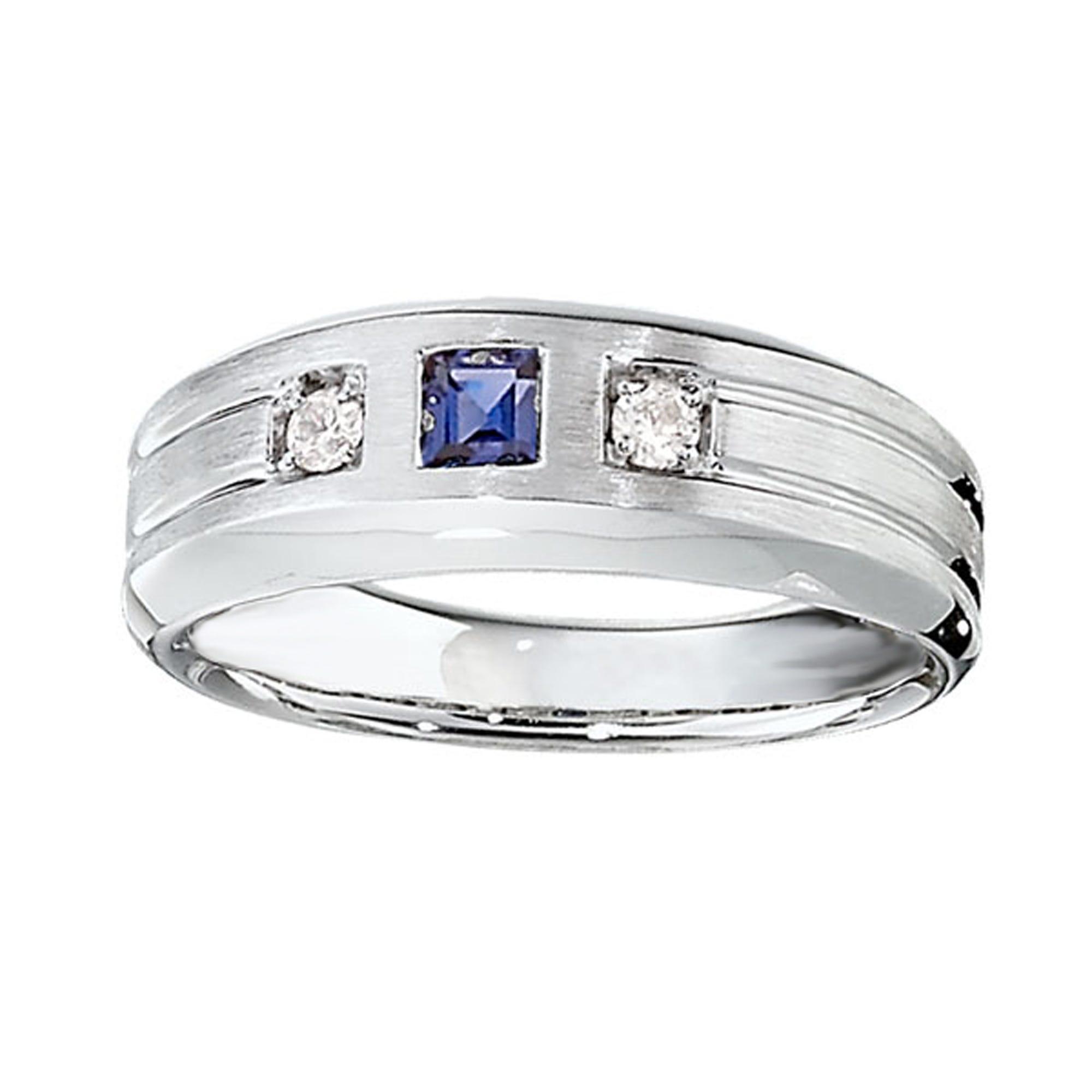 IBGoodman Men's 3-Stone Created Sapphire & Diamond Ring in Sterling Silver