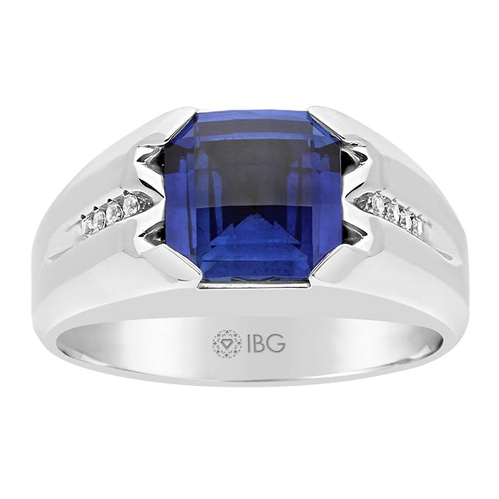 IBGoodman Men's Sterling Silver Cushion-Cut Created Sapphire & Diamond Ring