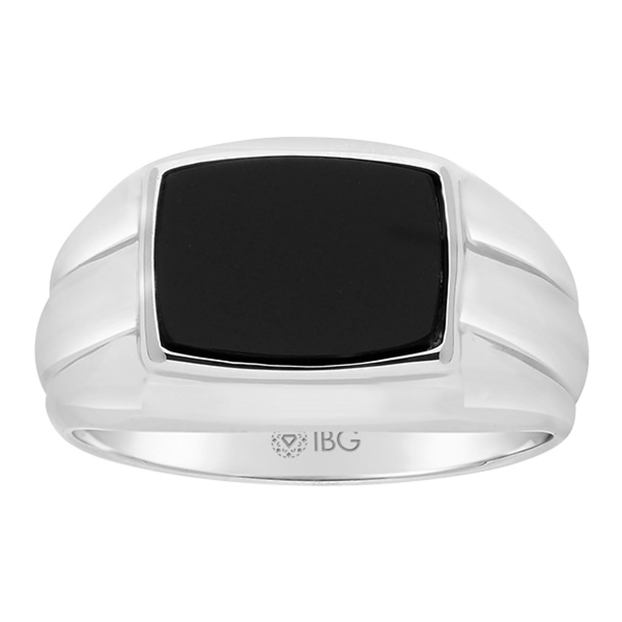 IBGoodman Men's Rectangle Onyx Ring in Sterling Silver