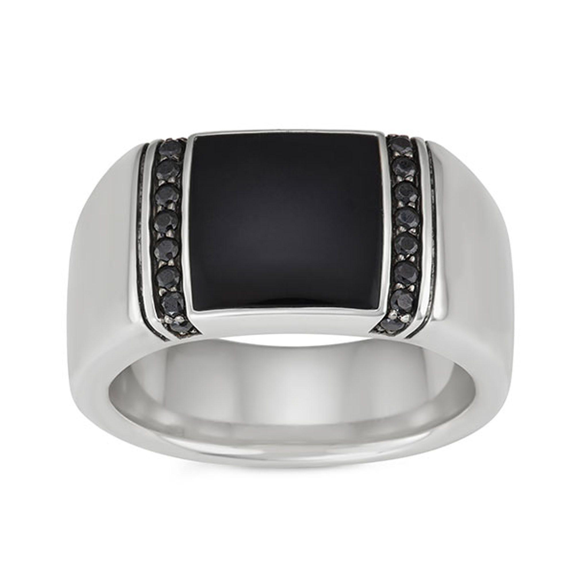 Sterling Silver Genuine Black Onyx Mens Ring