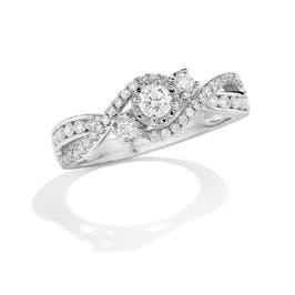 Gia. Three-Stone Diamond Engagement Ring in 14k White Gold