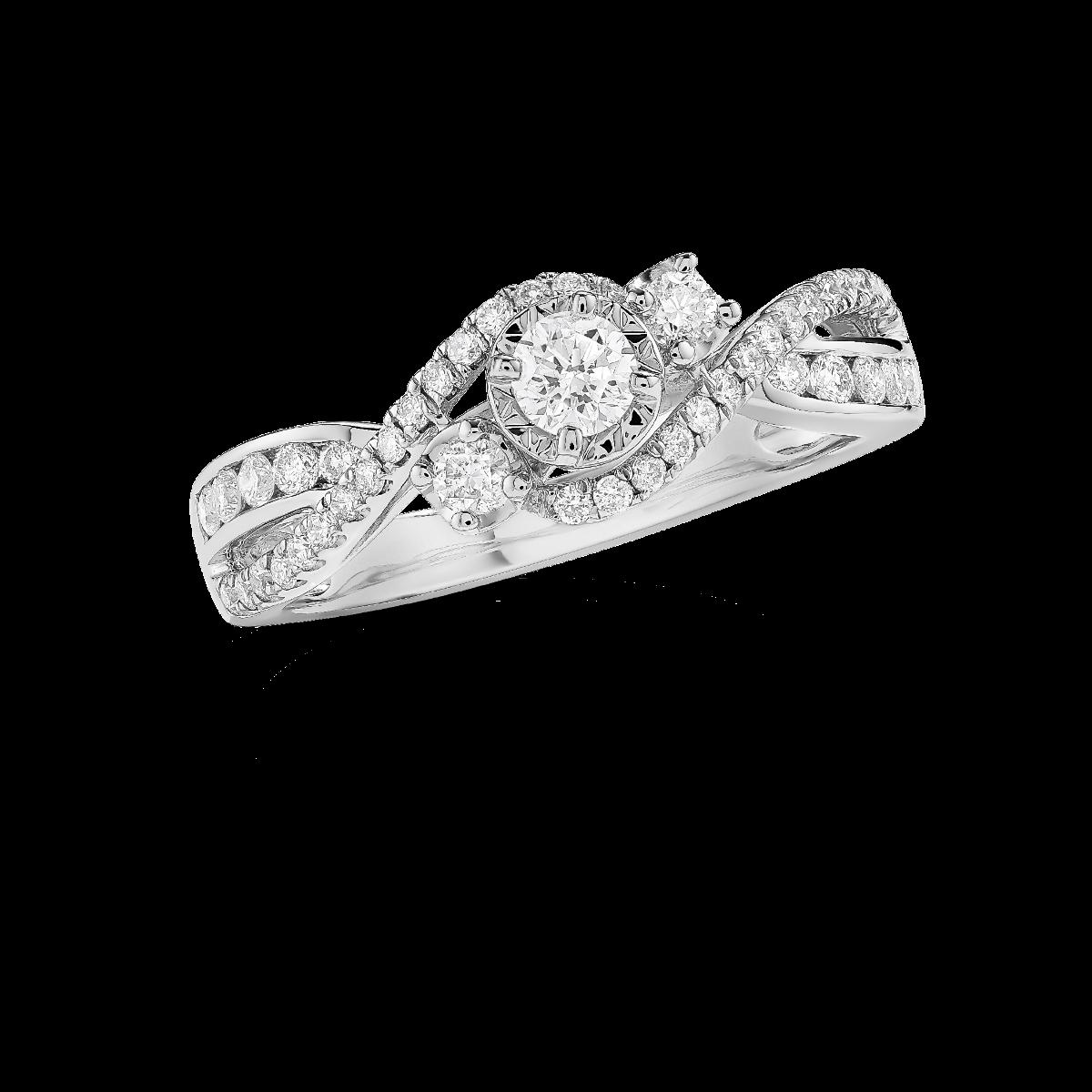 Gia Three Stone Diamond Engagement Ring In 14k White Gold