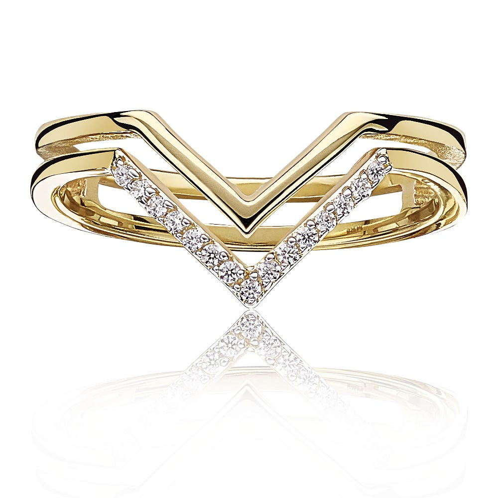 Double Chevron Diamond Fashion Ring in 10k Yellow Gold