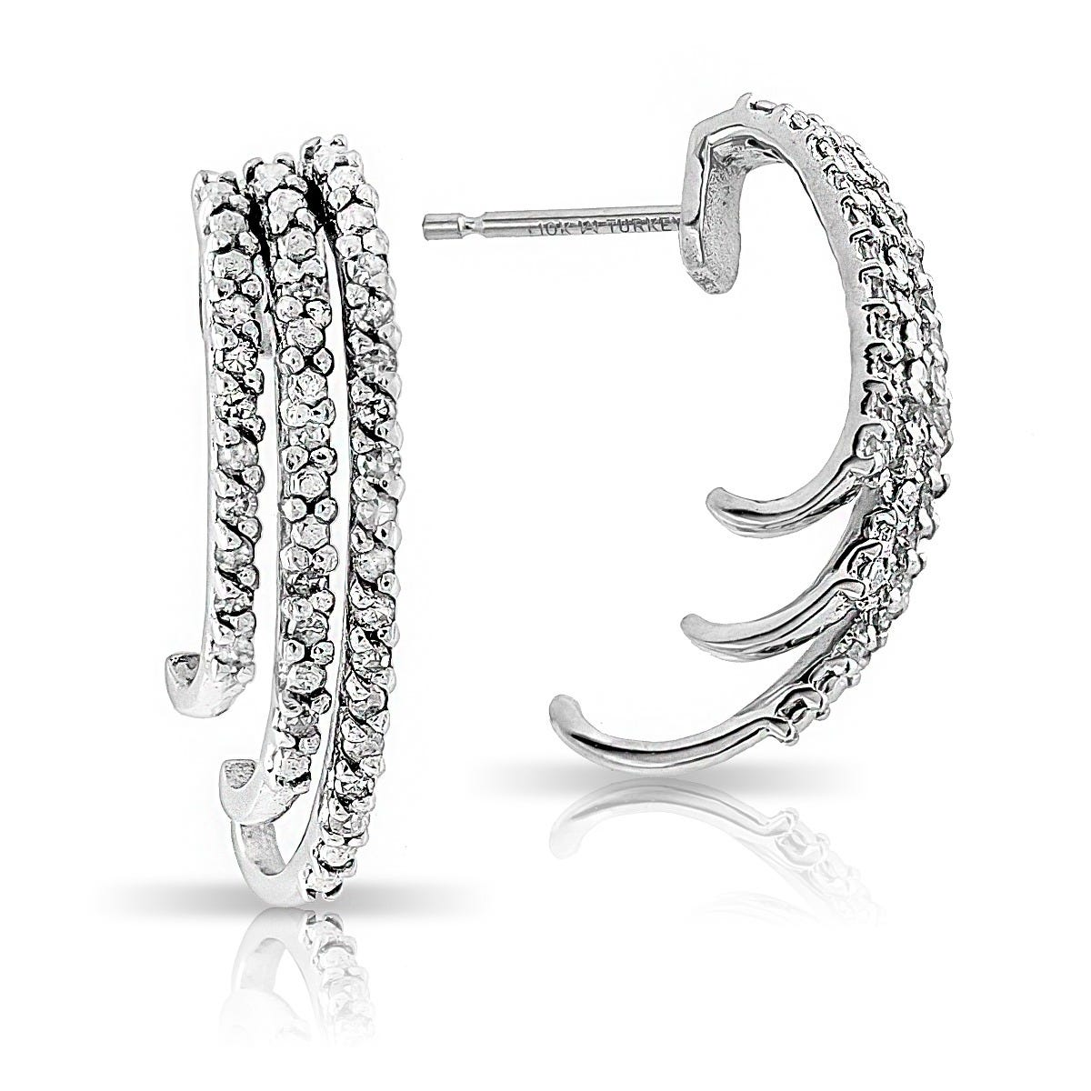 Diamond 1/4ctw Wraparound Hoop Earrings in 10k White Gold