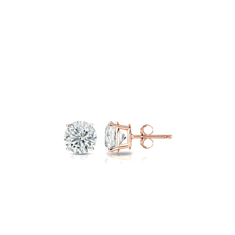 Diamond 1/10ctw. Round Solitaire Stud Earrings (I-J, VS2) 14k Rose Gold