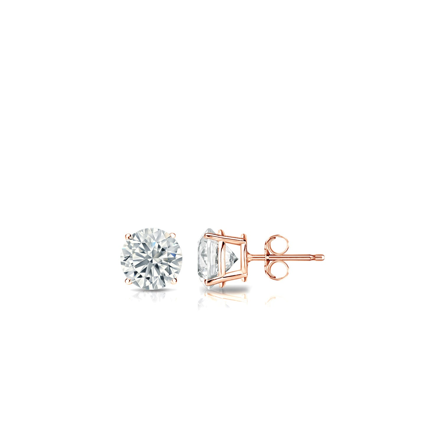 Diamond 1/6ctw. Round Solitaire Stud Earrings. (I-J, I2) 14k Rose Gold