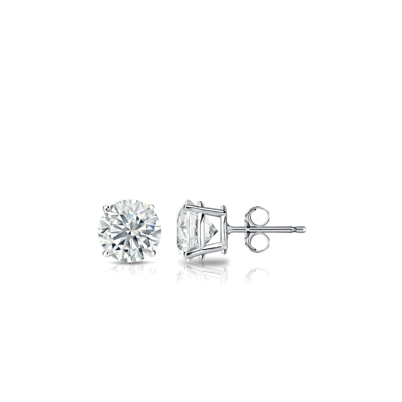 Diamond 1/3ctw. Round Solitaire Stud Earrings (I-J, VS2) 18k White Gold