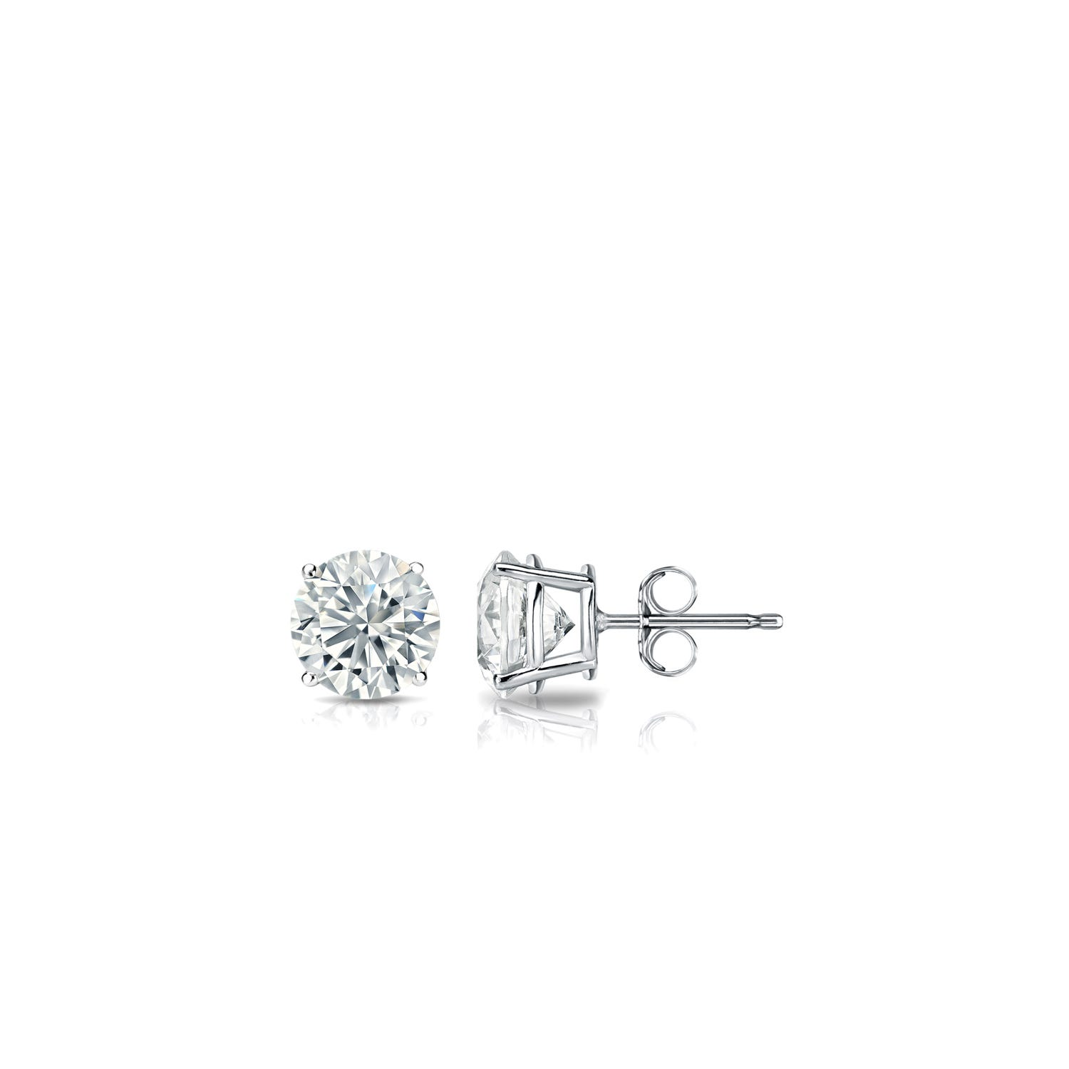 Diamond 1/10ctw. Round Solitaire Stud Earrings (I-J, I1) 18k White Gold