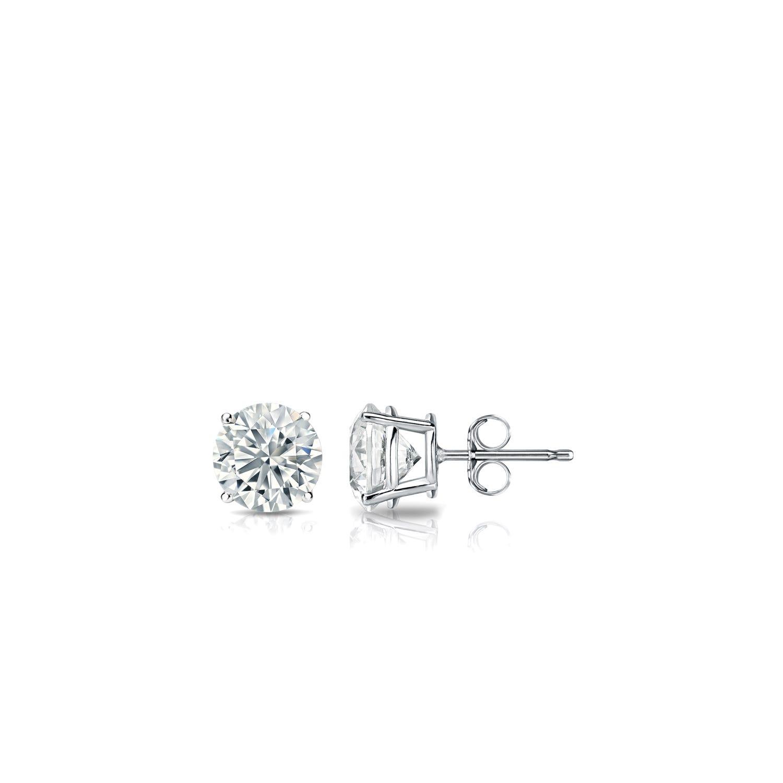 Diamond 1/6ctw. Round Solitaire Stud Earrings (I-J, I2) Platinum