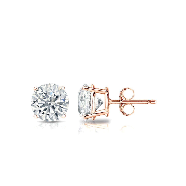Diamond 3/4ctw. Round Solitaire Stud Earrings (I-J, I2) 10k Rose Gold