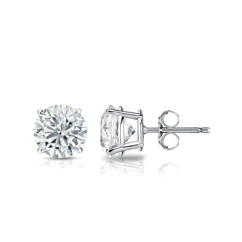 Diamond 1ctw. Round Solitaire Stud Earrings (I-J, SI2) Platinum